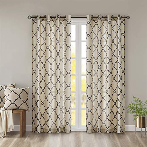 Madison Park Saratoga Window Curtain Light Filtering Fretwork Print 1 Panel Grommet Top Drapes/Valance for Living Room Bedroom and Dorm, 50x84, Khaki