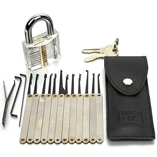 H&S Set de ganzúas para herramientas de selección de candado con candado de práctica transparente