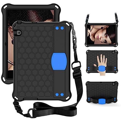 WHWOLF Funda para Huawei Mediapad T3 10 (9.6 pulgadas) para niños con soporte, correa para el hombro, correa de mano, a prueba de golpes, ligero, EVA ligero, color azul
