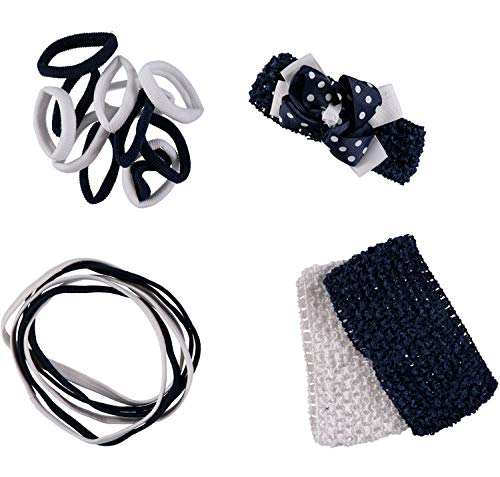 French Toast Kid's School Uniform Stretch Headbands and Ponytail Holders, 4-pack, Navy Blue & White, One Size