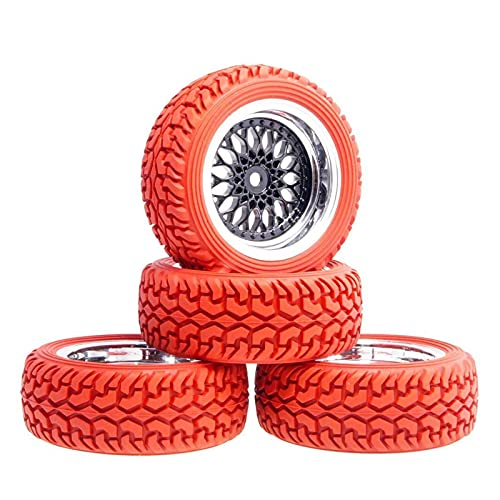 VIKEP Los neumáticos de Rally Compensados de la Rueda Compensada de 9 mm Ajustados para 1.16 Coche de Rally en Carretera Mini reemplazo de Coches (Color : Red)