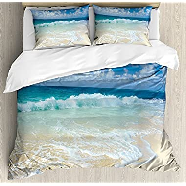 Wave Queen Size Duvet Cover Set by Ambesonne, Beach with Foamy Waves on Empty Sea Shore Holiday Theme Serene Coastal, Decorative 3 Piece Bedding Set with 2 Pillow Shams, Blue White Sand Brown