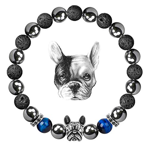 Karseer Diffuser Bracelets, Dog Lover Natural Magnetic Hematite and Lava Rock Energy Balance French Bulldog Theme Anxiety Healing Bracelet Aromatherapy Diffuser Bracelet for Women and Men
