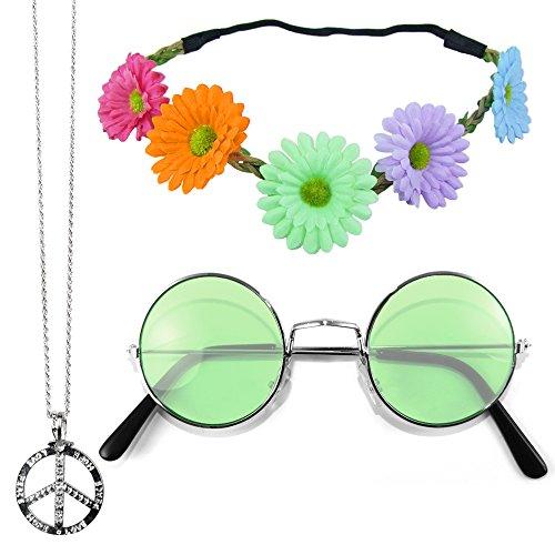 Das Kostümland Hippie Set 3-tlg. - Margeriten Haarband, Peace Kette und Lennon Brille - Bunt mit grüner Brille