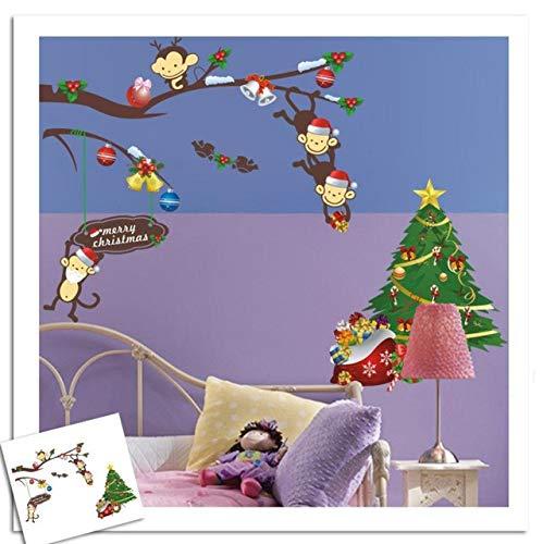 Commerce extérieur Cheeky Monkey Sapin De Noël Cadeau Paster Mur Amovible Bande Dessinée Stickers Muraux pour Enfants Chambres Décoration de La Maison