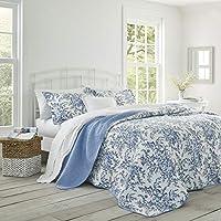 Laura Ashley Bedford Juego de Colcha de algodón Reversible, Azul, Completa/Queen, 1