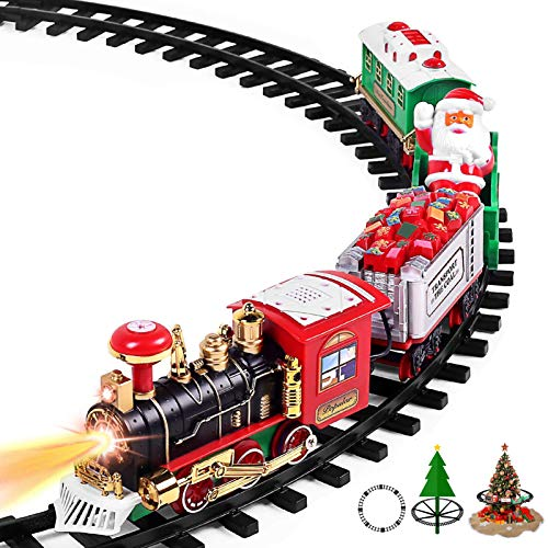 "AOKESI Toy Train Set with Lights & Sounds - 2020 Updated Christmas Train Set - 30"" Round Railway Tracks for Under/Around The Christmas Tree Battery Operated Toys Xmas Train Gift for Kids, Boys & Girls"