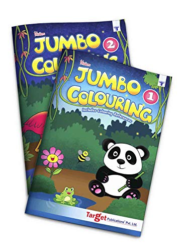 Blossom Jumbo Creative Colouring Books Combo for Kids | 3 to 7 years | Best Gift to Children for Drawing, Coloring and Painting with Colour Reference Guide | Level 1 and 2 - Set of 2 Books | A3 Size