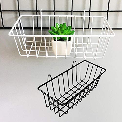 Metal Wire Hanging Basket, Storage Organizer with Mesh Stand, Wall Decoration, Wall Ornament, Hanging Interior Black