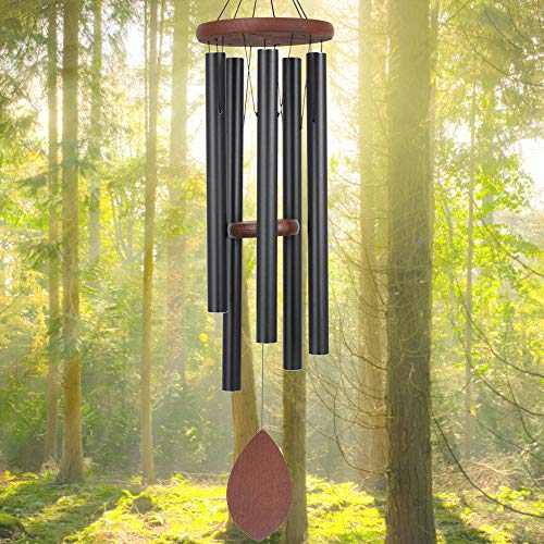 ASTARIN Wind Chimes Outdoor Deep Tone Large,36' Wind Chimes Melody with 5 Heavy Tuned Tubes for Garden Backyard Church Hanging Decor,Memorial Wind Chimes for Funeral Sympathy Gift,Black