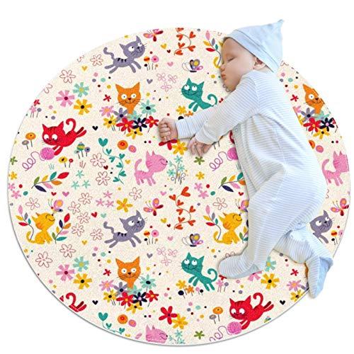 Alfombras de juegos para bebés, gatos, redondas, suaves, modernas, antideslizantes, para decoración de habitación, 27.6 x 27.6 pulgadas
