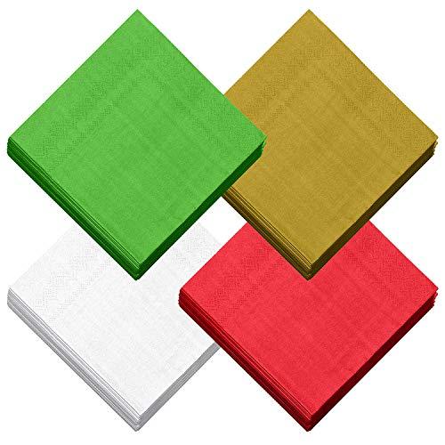 Aneco - Tovaglioli di carta usa e getta da cocktail, a 2 strati, per Natale, cene, feste, 3 colori classici in tinta unita, rosso, verde, oro, bianco