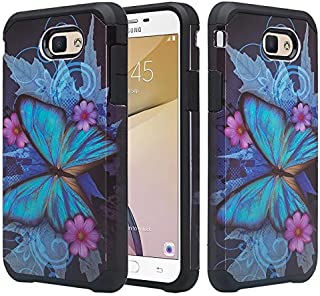 Galaxy J7v Case, Galaxy J7 Perx Case, Galaxy J7 Prime, Galaxy J7 Sky Pro Case [Include Temper Glass Screen Protector] Hybrid Dual Layer Protective Case Cover for Galaxy Halo - (Blue Butterfly)