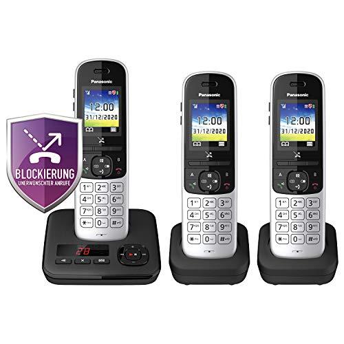 Panasonic KX-TGH723GS Schnurlostelefon mit Anrufbeantworter 3er Set (DECT Telefon, strahlungsarm, Farbdisplay, Anrufsperre, Freisprechen) schwarz