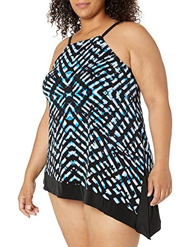 Amazon Brand - Coastal Blue Women's Plus Size Control Swimwear Tankini Top, Stained Glass, 1X (16W-18W)