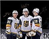 "William Karlsson, Jonathan Marchessault & Reilly Smith Vegas Golden Knights Autographed 16"" x 20"" Spotlight Photograph - Autographed NHL Photos"