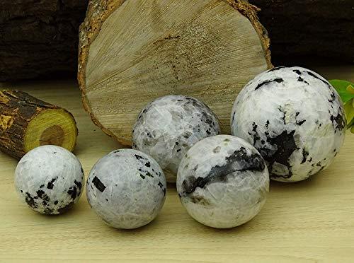 Reikiera Rainbow Moonstone Con Esfera Negro cristal de turmalina piedra curativo de la bola de la piedra preciosa natural con el anillo Stand, seleccione un tamaño