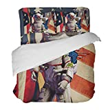 SUPERQIAO Amerikanischer Astronaut Adler USA Flagge 3 Stück Bettbezug Set mit dekorativen 2 Kissen Shams Tagesdecke Bettlaken