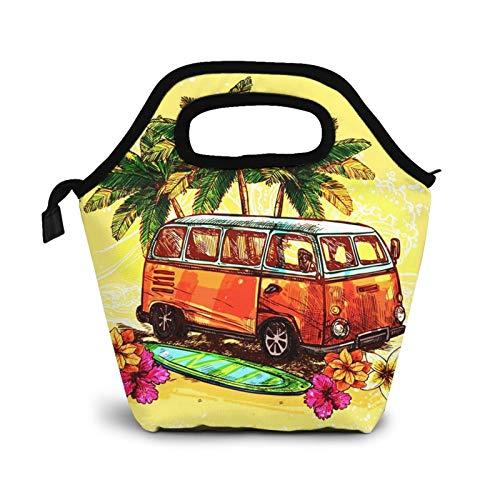 Bolsa Térmica Comida Bolsas De Almuerzo para Mujeres Hombres Niñas Niños Bolsa Isotérmica De Almuerzo Tabla de surf Hippie Surf Hippy Bus