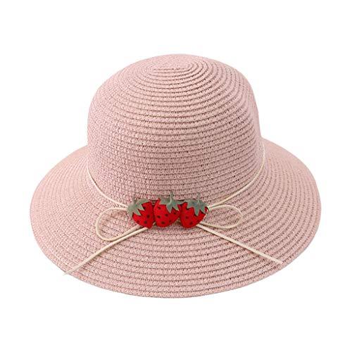 zkm Sombrero de Verano de Paja Tejida para Mujer Sombrero Lindo de Fresa Bowknot de ala Ancha Protección UV Gorra de Playa con Correa para la Barbilla Blanca