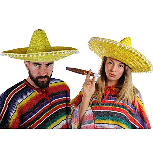 MEXIKANER PAAR KOSTÜM VERKLEIDUNG = 2 PONCHOS + 2 GELBE SOMBREROS MIT KLEINEN WEIßEN POMPOMS +2 DICKE PLASTIK ZIGARREN+ 2 MEXIKANISCHE SELBSTKLEBENDE SCHNURRBÄRTE=FASCHING KARNEVAL HALLOWEEN
