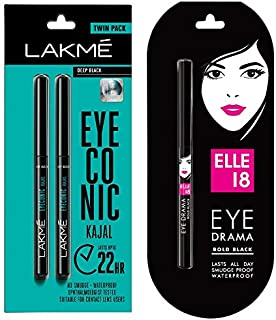 Lakme Eyeconic Kajal Twin Pack, Black, 0.35g with 0.35g & Elle 18 Eye Drama Kajal, Bold Black, 0.35g