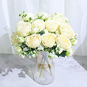 YHDNCG Beautiful Rose Peony Artificial Silk Flowers Small White Bouquet Home Party Winter Wedding Decoration Fake Flowers