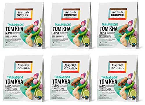 Tom Kha Paste von Fairtrade Original | Gewürzpaste für Suppe | Thai Gewürz| Kräuterpaste für Hühnersuppe | Tom Kha Gai Suppe | vegane Paste ohne künstliche Zusätze (6 Packungen (je 70g))