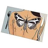 Mujer con tatuaje de mariposa en la espalda Juego de 6 manteles individuales Mesa resistente al calor Manteles lavables Cena de cocina,12X18 in