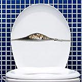 YLHJM Stickers muraux Animaux Mignon Chat Toilettes Autocollants furtivement Chat Fermeture éclair Stickers muraux pour Salle de Bain pépinière Meubles Art Autocollants Mur