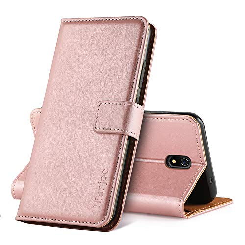 Hianjoo Hülle Kompatibel für Xiaomi Redmi 8A, Handyhülle Tasche Premium Leder Flip Wallet Hülle Kompatibel für Xiaomi Redmi 8A [Standfunktion/Kartenfächern/Magnetic Closure Snap] - Pink