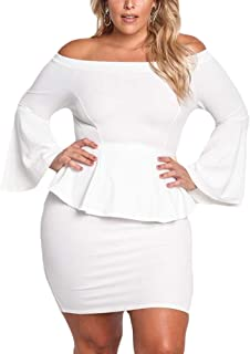 e0274a98890 VINKKE Womens Peplum Off The Shoulder Party Plus Size Mini Dress