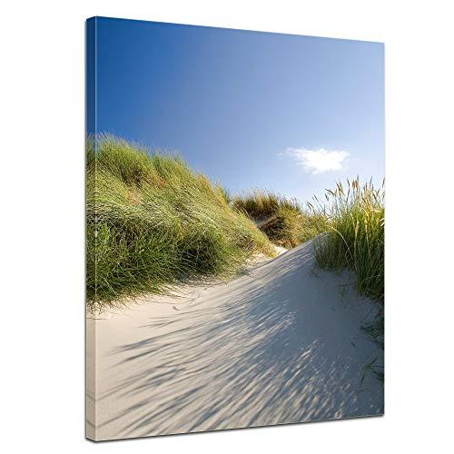Wandbild Dünengräser - Bild auf Leinwand - 30x40 cm Leinwandbilder Urlaub, Sonne & Meer Nordsee Dünen mit Strandgräsern - Idylle - Erholung