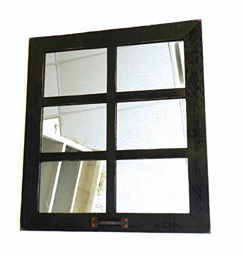 Window Style 6 Pane Mirror Reclaimed Barn Wood 20 X 22.5 Farmhouse Decor Country Wall Hanging Decorative Western Living Room Rustic Framed Distressed Antique Multi Mirrors Display Gallery Over Mantle