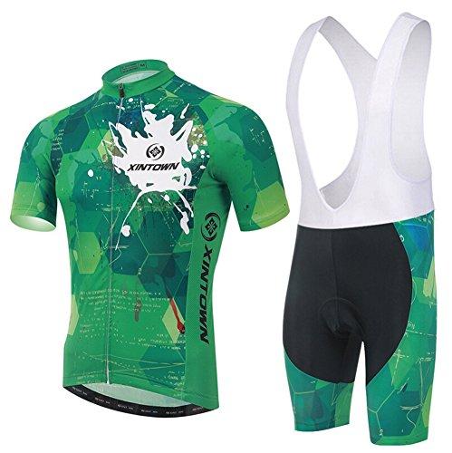Xinzechen Cycling Jersey Bib Tights Set Short Sleeve 3D Padded Green Show Size L