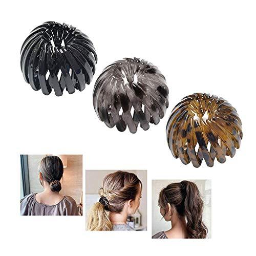 3pcs Ponytail hairpin curling iron - Vogelnest-förmige Haarspangen Haar-Klauen-Klemmen, erweiterbare Pferdeschwanz - Halteklammer, einziehbare Haarschlaufen für Frauen-Haarschmuck