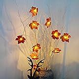 24 LEDs Ahornblatt Baum Licht, 50cm Schreibtisch Ahorn-Blätter (Herbst) Baumlicht Warmweiß,Herbst Dekoration Blätter Lichterketten für Thanksgiving, Weihnachten, Innen Deko - 9