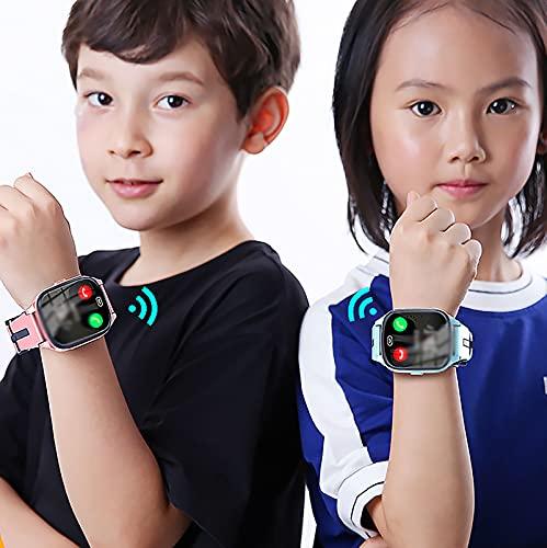 FVIWSJ Smart Watch Reloj Inteligente para niños y niñas y Personas Mayores con cámara Divertida,Video,Llamadas SOS bidireccionales IPS HD, Pantalla táctil Color,Rosado