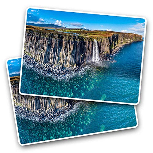 Awesome Rectangle Stickers(Set of 2) 7.5cm - Kilt Rock Waterfall Isle of Skye Scotland Fun Decals for Laptops,Tablets,Luggage,Scrap Booking,Fridges,Cool Gift #45469