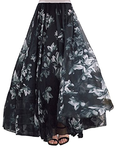 DEBAIJIA Falda Larga Mujer Maxi Bohemia Playa Vacaciones Gasa con Estampado Floral Talla Grande Cintura Elástica Negro - XL