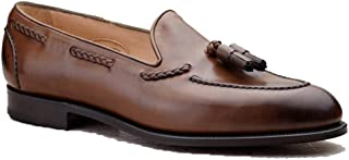 Costoso Italiano Brown Leather Formal Slip On Dress Goodyear Welted Shoes for Men