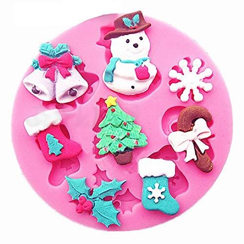 Sa038 - siliconenvorm - voedselgebruik - sneeuwvlok - bellen - kerstboom - slinger - sokken - snoep - suikerpasta - fondants - cakes - pannenkoeken