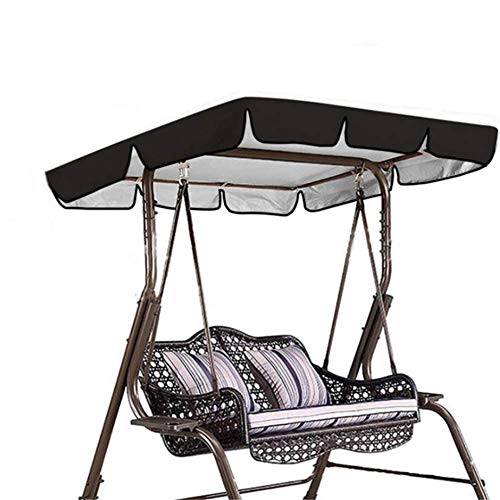 DJLOOKK Replacement Canopy for Swing Seat,2 & 3 Seater Garden Swing Top Cover, Garden Hammock Cover,Black,195 * 125 * 15cm