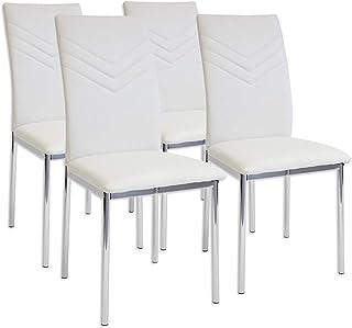 Albatros 2935 Verona Set de 4 sillas de Comedor Blanco pie de Cromo SGS Tested