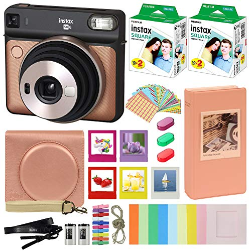 Fujifilm Instax Square SQ6 - Instant Camera Blush Gold with Carrying Case + Fuji Instax Film Value Pack (40 Sheets) Accessories Bundle, Color Filters, Photo Album, Assorted Frames + More