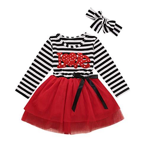 Kleinkind Baby Mädchen Valentinstag Gestreiften Print Tüll Kleid + Stirnband Outfits