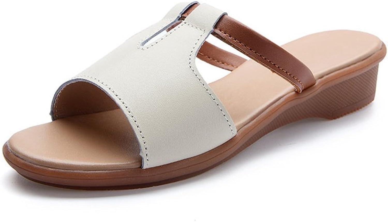 U-MAC Womens Open Toe Slide Sandals Slip-on Trendy Flat Summer Beach Casual Dress Slippers