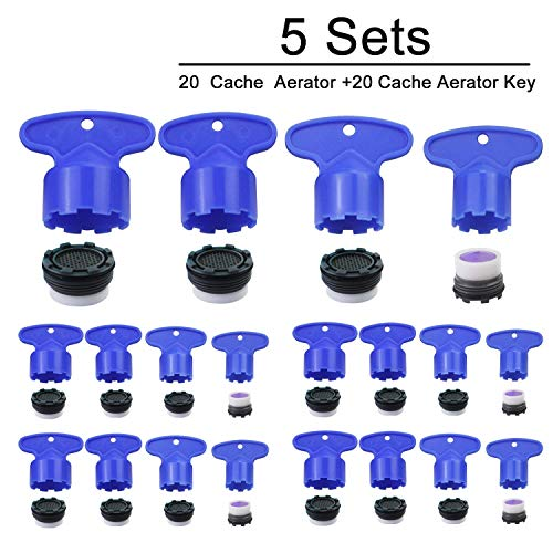 WeiMeet 20 Pieces Cache Faucet Aerator Key Removal Wrench Tool with 20 Pieces Faucet Aerator for M 16.5 18.5 21.5 24 cache aerators, 4 Set (Pack of 5)