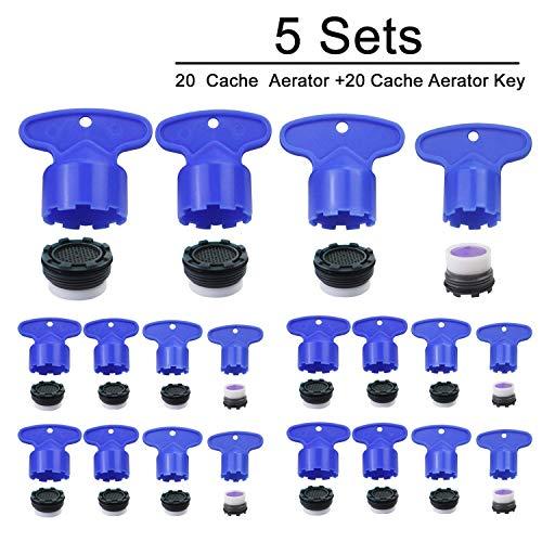 Cache Wasserhahn Luftsprudler Schlüssel Ausbauschlüssel Werkzeug für M 16.5 18.5 22,5 24 Cache Luftsprudler 4 Set (5 Stück)