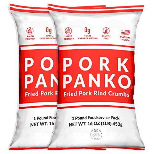Pork Panko - 0 Carb Pork Rind Breadcrumbs - Keto and Paleo Friendly, Naturally Gluten-Free and Carb-Free, Crispy Topping, Pork Chop Breading, Paleo Crab Cakes, Keto Meatloaf (2 Pack - 16oz Bulk Bags)